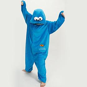 Kigurumi Pajamas New Cosplay / Cartoon Leotard/Onesie Festival/Holiday Animal Sleepwear Halloween Blue Patchwork Polar Fleece Kigurumi