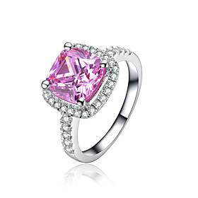 Sterling Silver 77mm 2CT SONA Pink Diamond Ring Engagement Jewelry Cushion C..