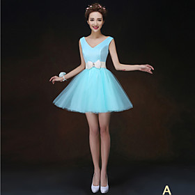 A-Line Princess High Neck Strapless One Shoulder V-neck Short / Mini Tulle Bridesmaid Dress with Flower(s) Sash / Ribbon