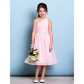 A-Line One Shoulder Knee Length Chiffon Junior Bridesmaid Dress with Draping Side Draping Ruching by LAN TING BRIDE
