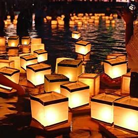 Chinese Square Wishing Lantern Floating Water Lanterns Lamp Light With Candle