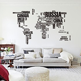 190cm116cm Large World Map Wall Stickers Original Zooyoo95ab Letters Map Wall Art Bedroom Wall Decals