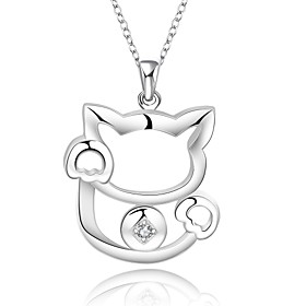 Cremation Jewelry 925 sterling silver Lovely Lucky Cat with Zircon Pendant N..