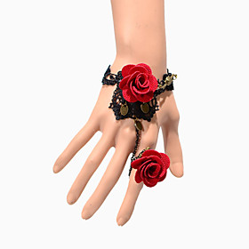 Vintage Double Red Rose Bracelet With Ring