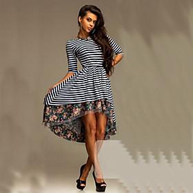 Image of Women's Casual Print Plus Sizes Micro-elastic ½ Length Sleeve Knee-length Dress (Cotton)