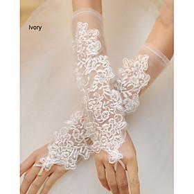 Wrist Length Fingerless Glove Net Bridal Gloves Spring Summer Fall