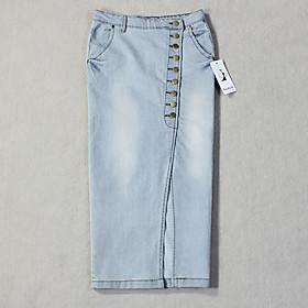 Women's Sexy Bodycon Casual Plus Sizes Inelastic Midi Skirt (Denim) plus size,  plus size fashion plus size appare