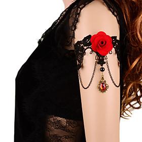 Vintage Red Rose Crown Gem Bracelet