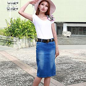 Women's Sexy Bodycon Casual Plus Sizes Inelastic Knee-length Skirt (Denim) plus size,  plus size fashion plus size appare