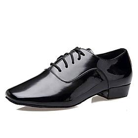 Non Customizable Men's Dance Shoes Latin Patent Leather Low Heel Black