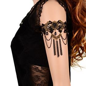 Vintage Black Gem Tassel Chain Bracelet Classical Feminine Style