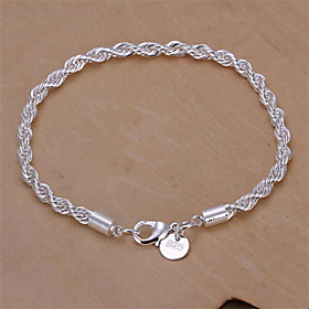 Women's Twist Prince Of Wales Chain Bracelet Sterling Silver Snake Ladies Basic Fashion Bracelet Jewelry Silver For Wedding Party Daily