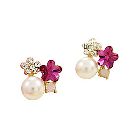 Temperament Five Leaves And Flowers Of Plum Crystal Diamond Pearl Earring