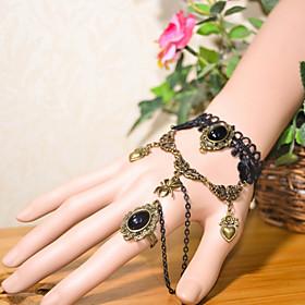 Vintage Spider Heart Bracelet With Ring