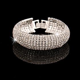 Elegant Full-Crystal BlingBling Bangle Bracelet for Women Wedding Party Jewe..