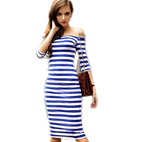 Image of Women's Sexy Bodycon Casual Cute Plus Sizes Micro Elastic ½ Length Sleeve Knee-length Dress (Knitwear)