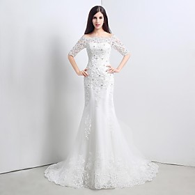 Trumpet / Mermaid Wedding Dress Sweep / Brush Train Strapless Lace / Tulle with Appliques