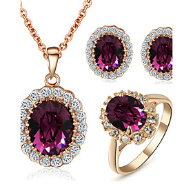 TC Women's Elegant Cz Diamond Jewelry 18K Rose Gold Pated Amethyst Purple Crystal Pendants Necklaces Earrings Ring Sets
