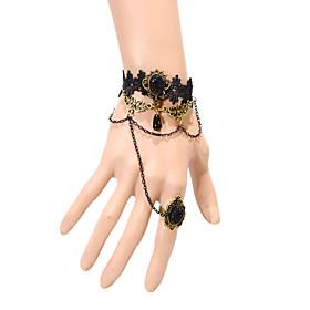 Vintage Crown Gem Bracelet With Ring