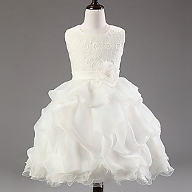 Ball Gown Knee Length Flower Girl Dress - Cotton Polyester Lace Tulle Sleeveless Jewel Neck with Flower
