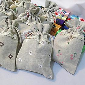 6 Piece/Set Favor Holder-Cuboid Jute Favor Bags Non-personalised 3783640