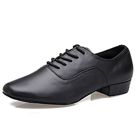 Non Customizable Men's Dance Shoes Latin Leather Low Heel Black