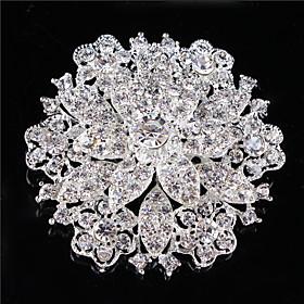Vintage ?omen Clear Crystal Rhinestone Diamond Leaf Wedding Brooch