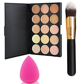 Pro Party 15 Colors Contour Face Cream Makeup Concealer Palette  Powder BrushPower Puff