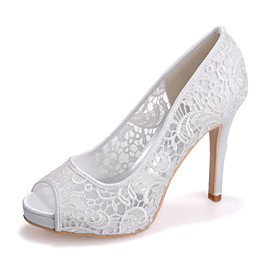 Women's Shoes Knit Spring / Summer Comfort Wedding Shoes Stiletto Heel Open Toe Lace Black / Pink / Ivory / Party  Evening