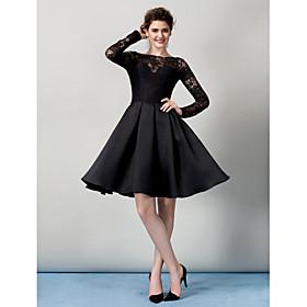 TS Couture Cocktail Party Prom Company Party Dress - Little Black Dress A-line Bateau Knee-length Lace with Lace plus size,  plus size fashion plus size appare