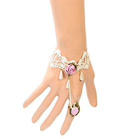 Vintage Pink Rose Drip Pearl Bracelet With Ring