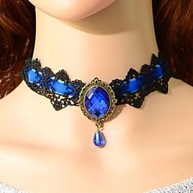 Vintage Simple Gem Riband Necklace