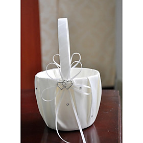 Flower Basket Satin Asian Theme/Classic Theme With Ribbons/Bow/Rhinestones Flower Girl Basket
