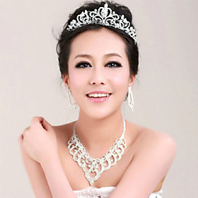 Crystal Crown Tiara Hair Flower Bride Hair Wedding Headdress Wedding Accessories One Piece 3784473