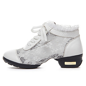 Women's Dance Shoes Sneakers Real Leather Lace Low Heel Black/White