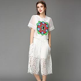 Tee-shirt ( Polyester ) Décontracté/A Motifs/Dentelle/Mignon - Normal - Fin à Manches Courtes