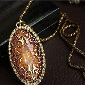 Women's Luxury Fashion Pendant Necklace Imitation Diamond Amber Alloy Pendan..