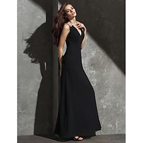 ts couture avondjurk plus size / petite mantel / column v-hals vloer-length georgette met kristallen detaillering 3944136