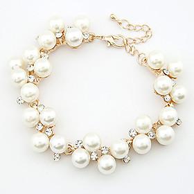 Women's Pearl Chain Bracelet Charm Bracelet - Pearl, Rhinestone Dainty, Party, Casual Bracelet For Wedding Gift Daily