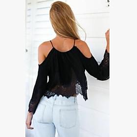 Women's Sexy Casual Lace Cute Plus Sizes Inelastic Long Sleeve Short Blouse (Chiffon/Lace)
