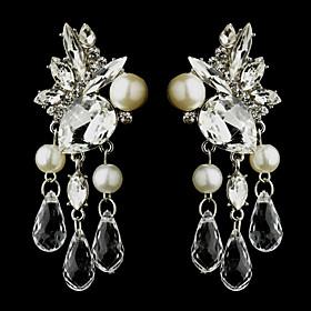 Vintage Women's Water Dorp Earrings Pearls Diamond Long Silver Earring For Wedding Bridal