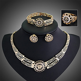 14K Rose-Gold-Filled Austrian Crystal Ancient Egyptian Culture Necklace Brac..
