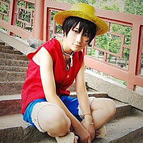 Inspired by One Piece Monkey D. Luffy Anime Cosplay Costumes Cosplay Suits Patchwork Sleeveless Vest Shorts For Male 115873