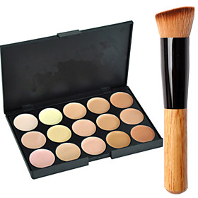 Image of 15 Concealer/Contour Cream-to-powder Face Makeup Concealer Palette ShineMore 15 Colors Cream Makeup Palette Come With an Oblique Head Powder Brush
