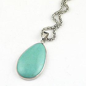 ToonykellyVintage Look Copper Natural Real Water Drop Turquoise Stone Necklace(1PC)