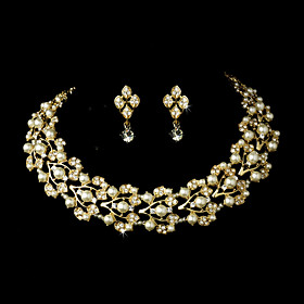 Women's Gold Alloy Wedding/Party Jewelry Set With Rhinestone White Pearls Rh..