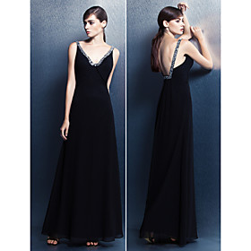 ts couture avondjurk plus size / petite mantel / column v-hals vloer-length georgette met kristallen detaillering 3944137