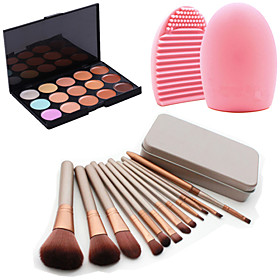 12Pcs Cosmetic Makeup Tool Eyeshadow Powder Blush Foundation Brush Set Box 15Colors Concealer1PCS Brush Cleaning Tool