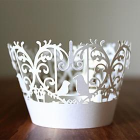 12pcs Love Bird Laser Cut Cupcake Wrapper Wrap Muffin Cases Bridal Shower Wedding Party Cake Decoartion 3904499