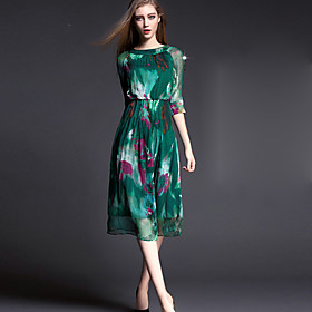 Image of Women's Casual Party Micro Elastic Length Sleeve Knee-length Dress (Silk)